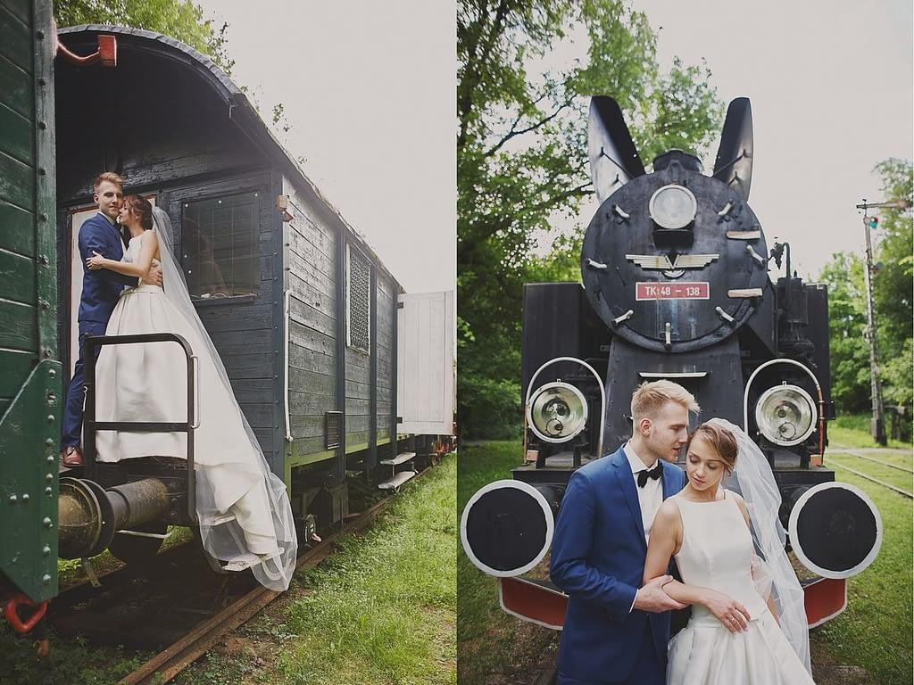 zdjęcia ślubne z motocyklem pociąg Białowieża