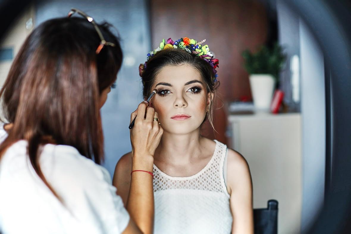 Zdjęcia ślubne make-up wianek